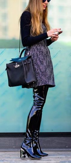 Patent Leather Thigh Boots and Hermes Kelly Bag