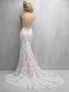 Beautiful illusion-back lace & satin Madison James Wedding gown
