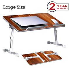 Avantree [Large Size] Adjustable Laptop Bed Table Portable Standing Desk Foldable Sofa Breakfast Tray Notebook Stand Reading Holder for Couch Floor Kids - American cherry Portable Laptop Table, Laptop Table For Bed, Bed Tray Table, Lap Table, Floor Desk, Lap Desk, Best Standing Desk, Standing Desks, Breakfast Tray