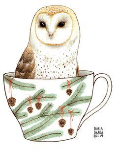 Barn Owl in a Teacup II 5x7 Giclee Art Print von TwoBlackCatsStudio, $10.00