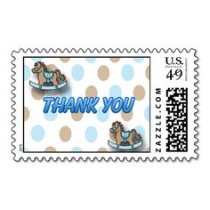 It's a Boy Rocking Horse Baby Shower Thank You Postage Stamp