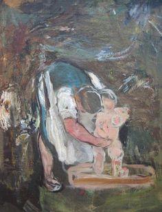 Giovanni Giacometti「Il bagno del bambino」