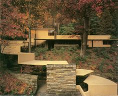 FLW view of the walkway and guest house at Fallingwater.