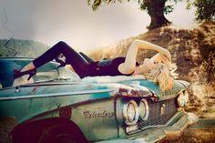 Blonde bombshell fashion photography girl outdoors car autumn