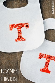 Cheer on your favorite team this fall by making these football DIY baby bibs. Cut out any team logo and add them to a bib in just a few minutes!