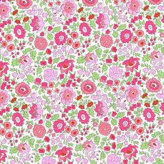 A beautiful floral print, Danjo from Liberty of London, here in the lovely pinks, red and green colourway.  From the NEW 2014 Classics Collection  Size:Fat Quarter: 45cm x 67cm,By the metre...