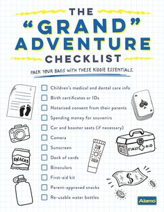 """It's exciting to plan for your grandkids when you've gotten used to packing just for yourself! Pin our packing checklist and click or tap to see more travel tips for your next """"grand"""" adventure. Travel Info, Packing Tips For Travel, Travelling Tips, Disney Vacations, Disney Trips, Travel With Kids, Family Travel, Children's Medical, Packing Checklist"""