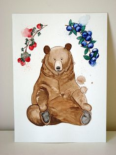 Bear watercolor illustration by Marina Prado