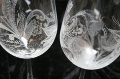 Engraved wine glasses by Victoria Lucy