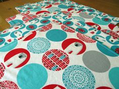 Polar Bear Christmas Placemats in Aqua and Red Kaufman Brrr Fabric - Set of 4