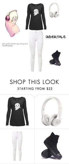 """""""Undertale Napstablook inspired outfit"""" by lazy-cute-diva ❤ liked on Polyvore featuring Beats by Dr. Dre, Frame Denim and Converse"""