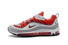 0d6437207c Mens Nike Air Max 98 Running Shoes University Red White Silver 640744 600