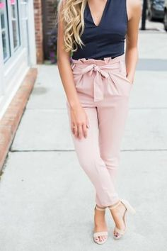 Paperbag Waist cigarette pants Pink Pants Outfit, Summer Pants Outfits, Spring Outfits, Trendy Outfits, Cute Outfits, Fashion Outfits, Swoon Boutique, A Boutique, Boutique Clothing