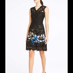 """NWT Elie Tahari Lace Floral Appliqué A-Line Dress A floral-print piqué-woven dress takes on fanciful dimension and peekaboo allure with lavish applications of sheer floral lace at the sleeveless bodice and knee-length hem. The fitted A-line silhouette is universally flattering. 39"""" length. Exposed back-zip closure. V-neck. Sleeveless. Stretch lining. 97% cotton, 3% elastane. Dry clean. By Elie Tahari; imported. Elie Tahari Dresses Midi"""
