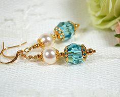 Blue bridesmaid jewelry Swarovski crystal  by MossRoseBrideJewelry, $30.00
