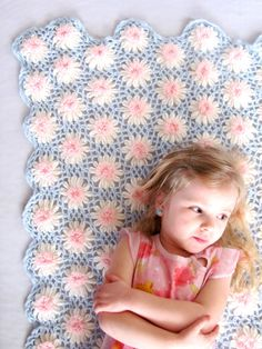 Blue White and Pink Flower Crochet Throw Blanket Girl by NeoZao, $24.00