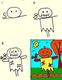 How to draw a scarecrow - Kids art club lesson for today Fall Drawings, Art Drawings For Kids, Drawing For Kids, Easy Fall Crafts, Fall Crafts For Kids, Art For Kids, Kid Art, Scarecrow Drawing, Kindergarten Art Lessons