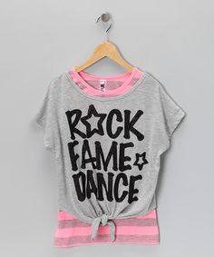 Take a look at this Gray & Pink 'Rock' Tie Tee & Tank by Beautees on #zulily today!