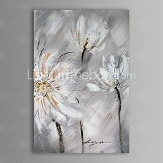 Pintada a mano Abstracto / Floral/Botánico Un Panel Lienzos Pintura al óleo pintada a colgar For Decoración hogareña - EUR €59.77
