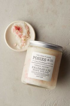 Posies & Co. Body Polish. Lovely dried blooms are a key component of these luxurious bath products and moisturizing oils handcrafted on the California coast.   This hydrating body polish, made with sugar and shea butter, is lovely to smell, behold and apply.