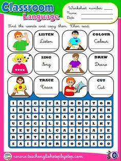 Classroom Language - Worksheet 2   FUNTASTIC ENGLISH 1 - 1ST ...