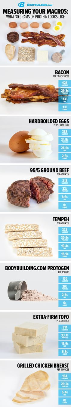 Measuring Your Macros: What 30 Grams of Protein Looks Like! Want to build muscle and lose fat? Then you need protein! Heres how much you need and how to measure it for each meal.