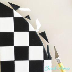 Crumb Avenue - Easy to follow cake topper tutorials | Tutorials | Checkered Cake Board Fondant Cake Tutorial, Cake Topper Tutorial, Cake Toppers, Checkered Cake, Edible Glue, Lollipop Sticks, Cake Board, Cake Decorating Techniques, Alice