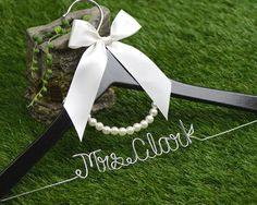 Hey, I found this really awesome Etsy listing at https://www.etsy.com/listing/180170359/wedding-hanger-lace-bow-wire-name-hanger