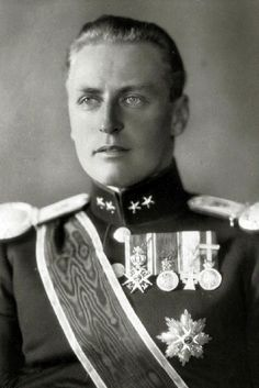 Crown Prince Olav (Olaf) of Norway portrait, Crown Prince Olav (1903-1991) succeeded his father King Haakon VII in 1957 becoming King Olav V.