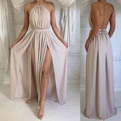 Chiffon Halter Neck Backless Prom Dress Simple A-Line Floor Length Evening Dress