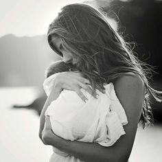 Mother's love! :)  Newborn baby photos. true love, love, mother daughter, black and white photo
