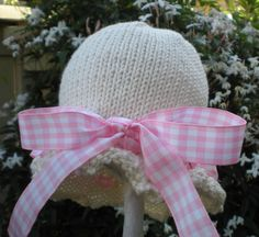 So Sweet Hand Knit Baby Hat Ivory With by HollyLaneBabyHats, $28.00