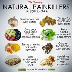 Natural Painkillers - Thanks to Terra Floria  https://www.facebook.com/photo.php?fbid=468653866555331=a.423673451053373.101066.423463551074363=1_count=1