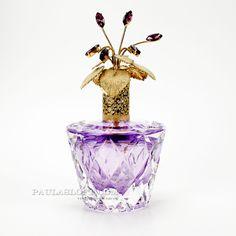 Vintage Irice Perfume Bottle Purple Cut Glass Amethyst Rhinestone Jeweled Large