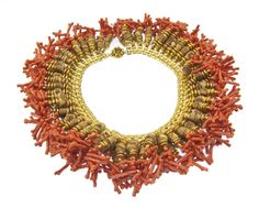 Miriam Haskell Coral and Cork Fringe Bib Necklace - Circa 1940s - Stamped Miriam Haskell to clasp
