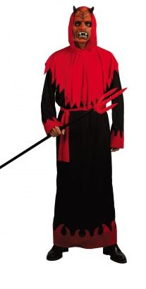 Product description:  Devil costume for men  Complete devil set!        This devil costume for men consists of a black robe, long sleeves with red flame motif at the rim, red mask with devil horns, red belt and a red cloak jagged hood (fork not inclu