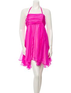 Pink Alice + Olivia silk halter dress with pleats throughout, boning at lining, empire waist, tie closure at neck and concealed zip closure at back.