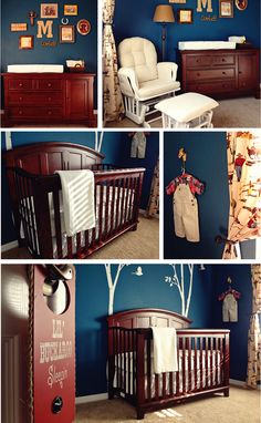 Rustic Boys Nursery...not just for a nursery, I love the navy walls, dark wood, and cowboy touches :)