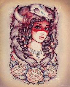 Traditional tattoo inspired Pocahontas - it's a T-shirt design, you can help me get it printed by voting here http://www.designbyhumans.com/vote/detail/222235 Thank you so much <3