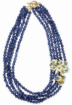 Sapphire Jade, Blue & Gold Flowers