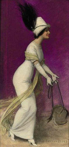 """thewidowflannigan: """" Elegant Lady by Jan van Beers, ca 1910 """" """" [those are ham..."""