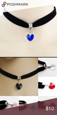 💙Velvet Choker Crystal Heart💙 💙✨Black velvet choker with a blue crystal heart pendant. Super cute. 💙Brand new in a gift bag.💙✨ Nasty Gal Jewelry Necklaces