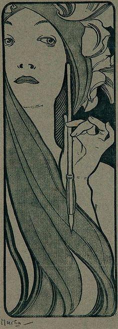 Pencil, 1890-1900, Alfons Maria Mucha. (1860 - 1939)