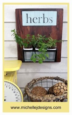 Thrift Store Upcycle Herb Garden :http://michellejdesigns.com/thrift-store-upcycle-herb-garden/