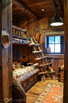 House Bunk Bed, Bunk Beds, Bunk Rooms, Canopy Beds, Alcove Bed, Sleeping Nook, Lodge Look, Lodge Style, Log Cabin Homes