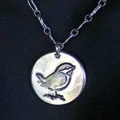 Bird Pendant  Little Sparrow in Silver     by LinneaSilverArrays, $36.00