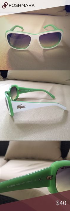 Lacoste summer sunglasses **authentic** Green and white frame. No scratches. Excellent condition. NOT looking to trade. Lacoste Accessories Glasses