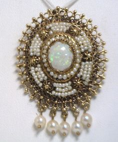 Unique Late Victorian 14KYG Pin/Pendant with Opal and Pearls