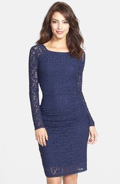 Laundry+by+Shelli+Segal+Ruched+Lace+Body-Con+Dress+available+at+#Nordstrom