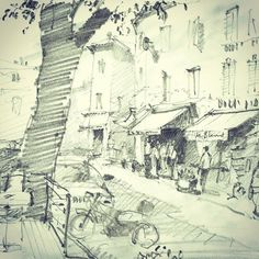 Locals heading to the marché Provençal in Cours Masséna Antibes. #Sketching #Antibes #Drawing